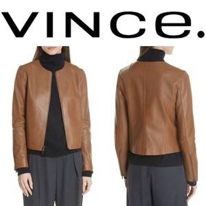 (NWT) VINCE Collarless Leather Jacket